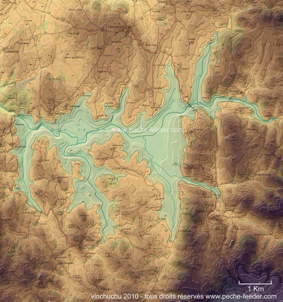 Carte de Pareloup relief du du fond du lac