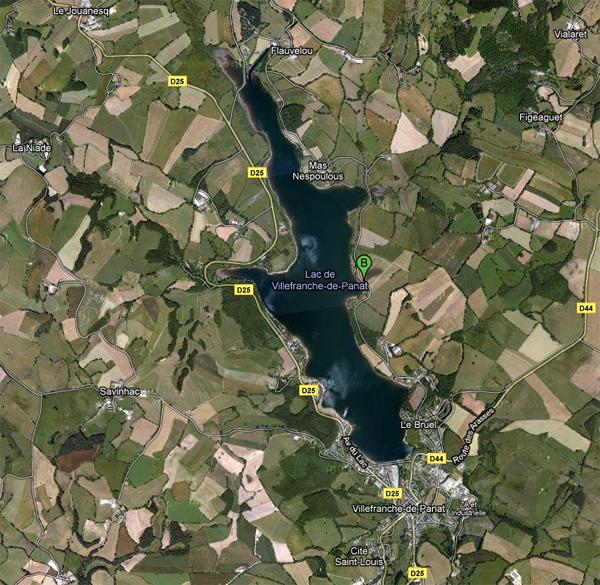 carte lac de Villefranche de Panat