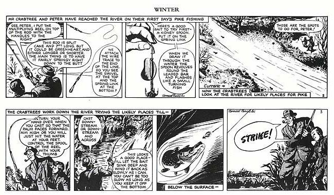 Apprendre à pêcher le brochet a la cuillère en bande dessinée - Dessin de B. Venable - Reproduit avec l'autorisation de Mr. Crabtree Ltd