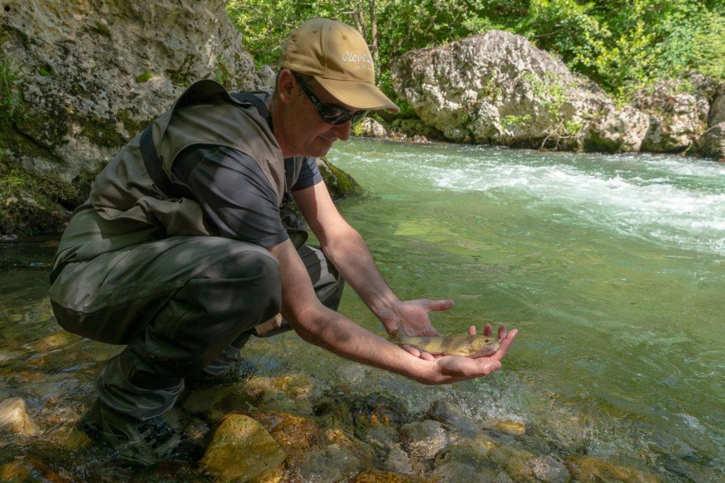Pêche à la truite à la mouche noire